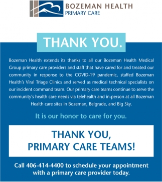 Thank You, Primary Care Teams!