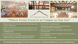 Where Every Event Is As Unique As You Are The Woodbound Inn