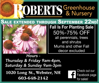 Fall Is For Planting Sale