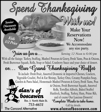 Spend Thanksgiving With Us!