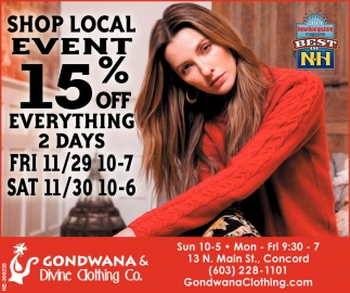 Shop Local Event 15% Off