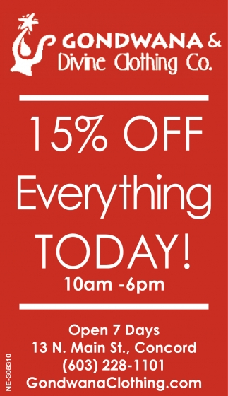 15% Off Everything Today!