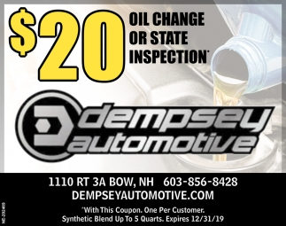 $20 Oil Change Or State Inspection