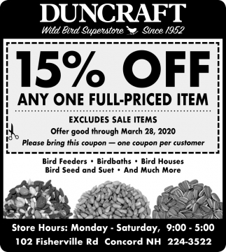15% Off Any One Full-Priced Item