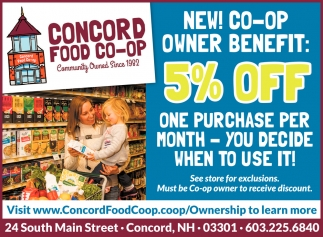 New! Co-op Owner Benefit