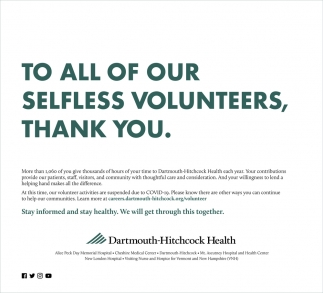 To All Of Our Selfless Volunteers, Thank You.