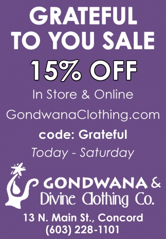 Grateful To You Sale 15% Off In Store & Online