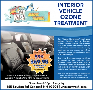 Interior Vehicle Ozone Treatment