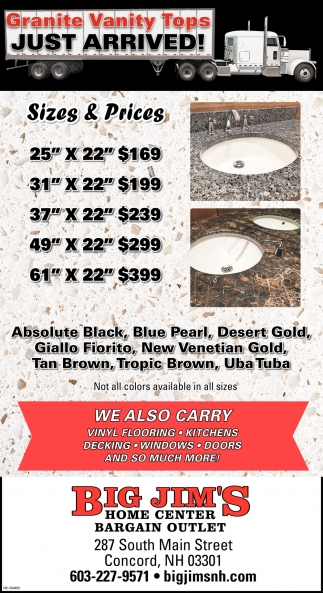 Granite Vanity Tops Just Arrived!
