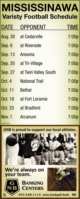 Mississinawa Varisty Football Schedule