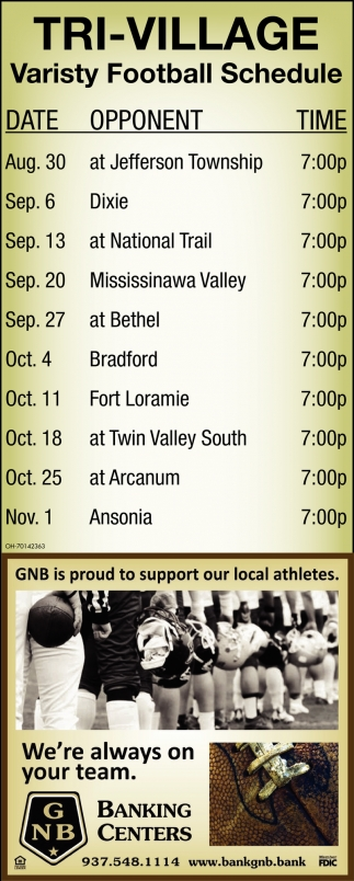 Tri - Village Varisty Football Schedule