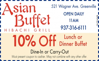 B10% Off Lunch or Dinner Buffet