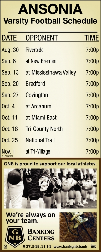 Ansonia - Varsity Football Schedule