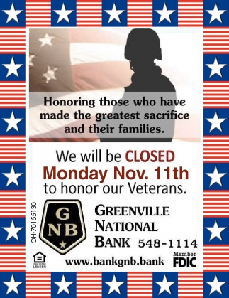 We will Closed Monday Nov. 11th to honor our Veterans