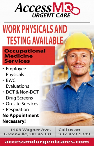 Work Physicals and Testing Available