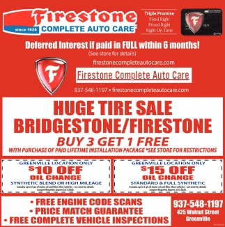 Huge Tire Sale Bridgestone/Firestone
