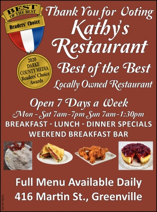 Thank You For Voting Kathy's Restaurant Best of the Best