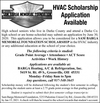 hVAC Scholarship Application Available