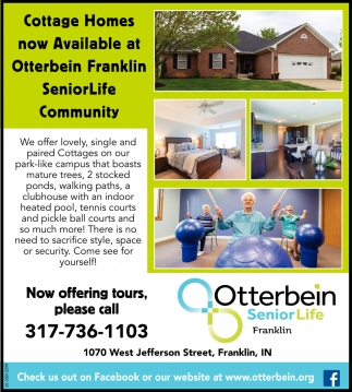 Cottage Homes Now Available At Otterbein Franklin SeniorLife Community
