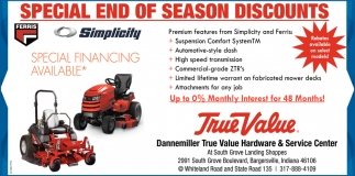 Special End Of The Season Discounts