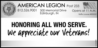 We Appreciate Our Veterans!