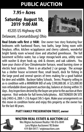 Public Auction August 10