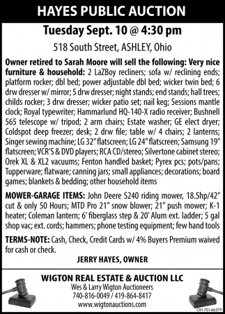 Hayes Public Auction - Sept. 10