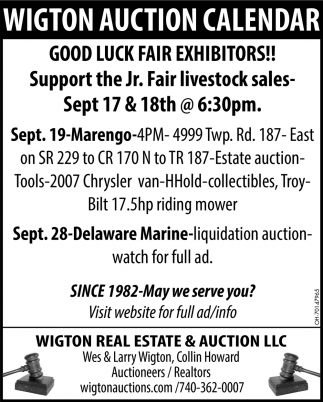 Wigton Auction Calendar - Good Luck Fair Exhibitors!