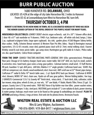 Burr Public Auction - October 3