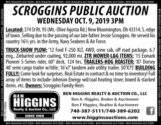 Scroggins Public Auction - Oct. 9