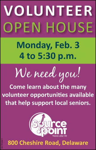 Volunteer Open house - Feb. 3