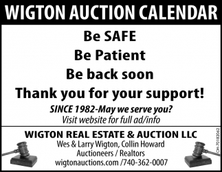 Wigton Auction Calendar