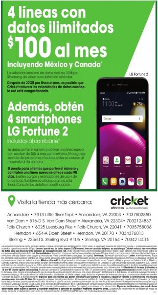4 Lineas Con Datos Ilimitados Cricket Wireless Roanoke Va