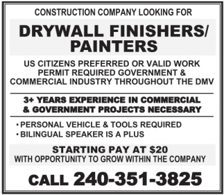 Drywall Finishers/Painters
