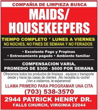 Maids / Housekeeprs