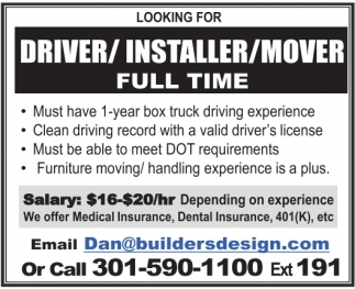 Driver / Installer / Mover
