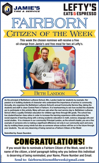 Beth Landon - Citizen of the Week