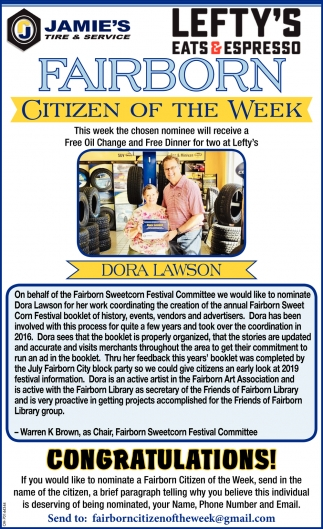 Dora Lawson - Citizen of the Week