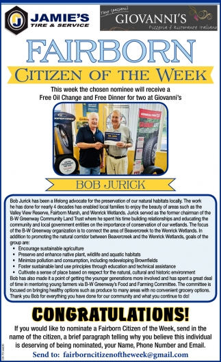 Bob Jurick - Citizen of the Week