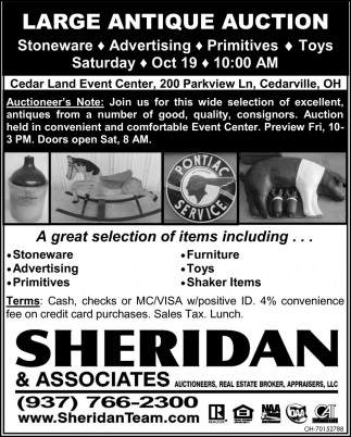 Large Antique Auction - Oct 19
