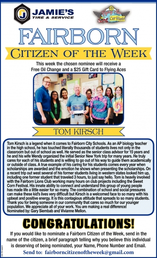 Tom Kirsch - Citizen of the Week