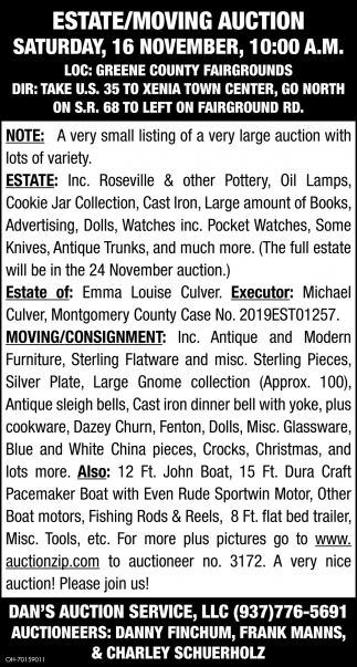 Estate/Moving Auction - 16 November