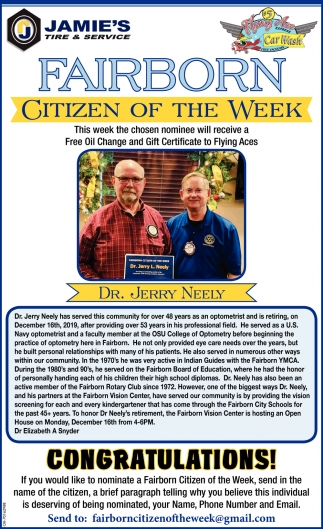 Citizen of the week - Dr.Jerry Neely