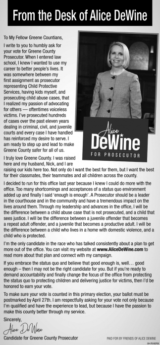 From the Desk of Alice DeWine
