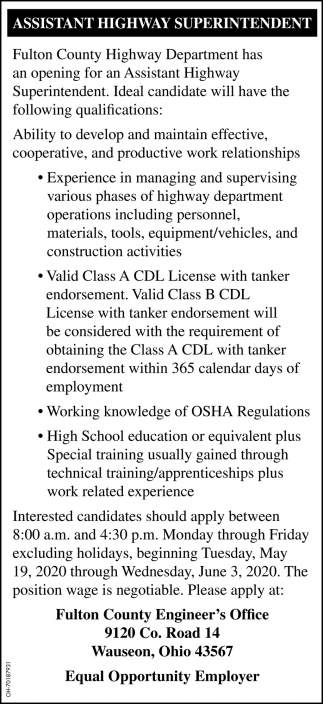 Assistant Highway Superintendent