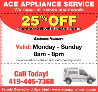 25% off Service Call with Parts Repair