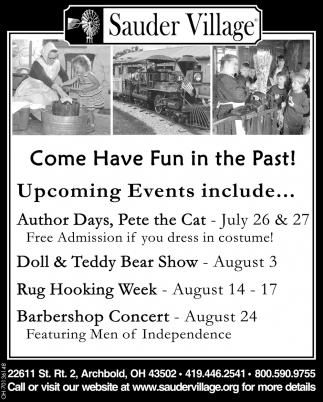 Come Have Fun in the Past! - Upcoming Events include...