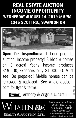 Real Estate Auction Income Opportunity