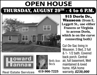 Open House - August 29th / 915 Doris Dr., Wauseon