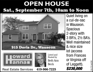 Open House - September 7th / 915 Doris Dr., Wauseon